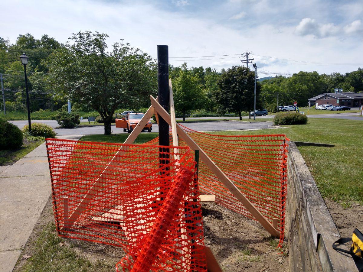 Satellite mount pole, waiting pre-pour inspection
