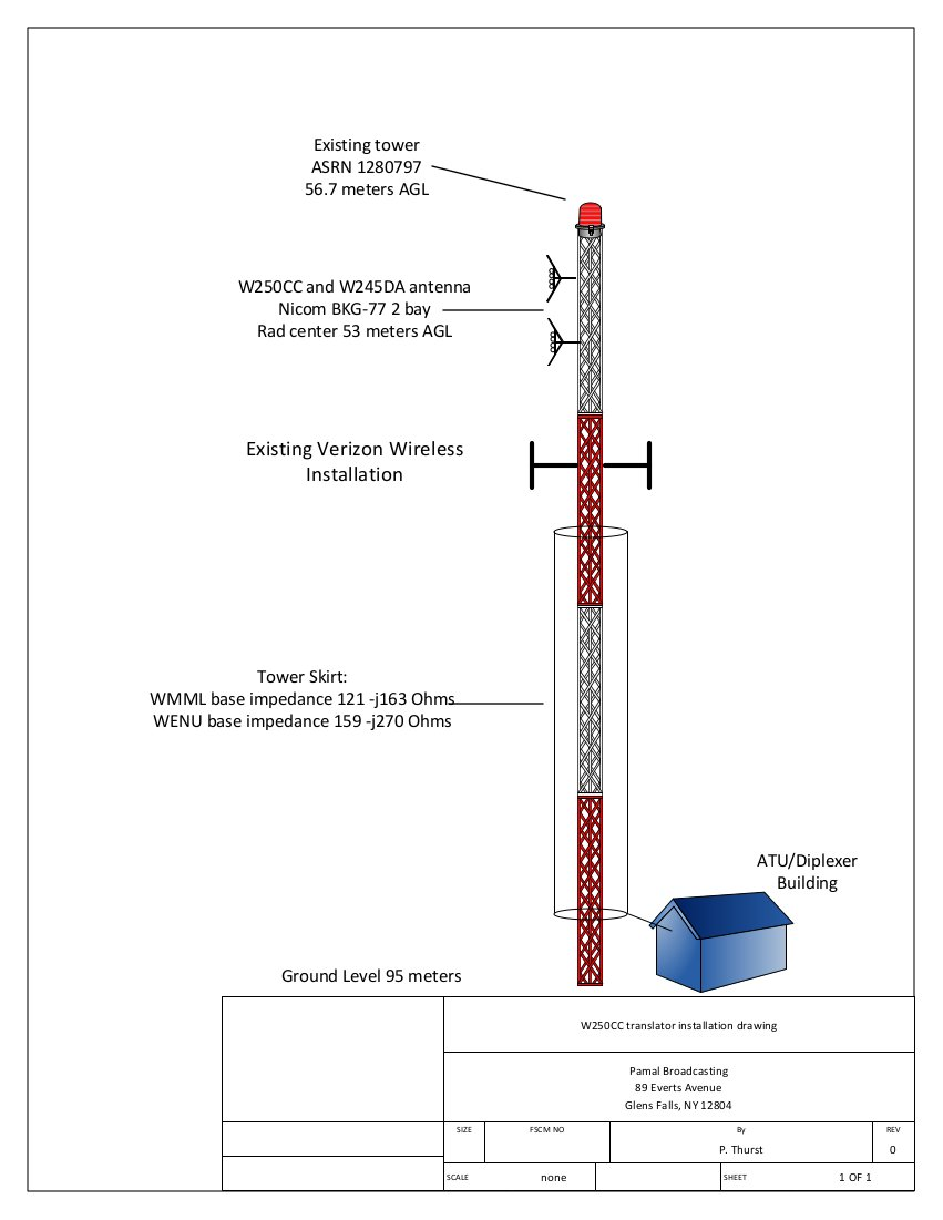 Diagram showing WENU/WMML tower with W250CC/W245DA antenna installed