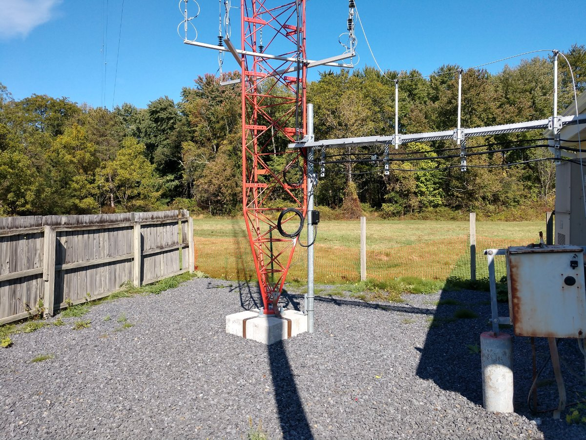 Base of AM tower with WISP equipment installed